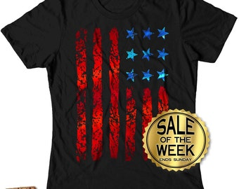 FOURTH Of JULY SHIRT Women -  Ladies Shirt - usa - American Flag - Independence Day - Blue and Red Foil Imprint - s - xxl