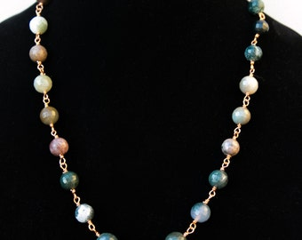 Handcrafted copper wire-wrapped necklace with beautiful faceted Indian Agate beads (graduated from 14mm-10mm)