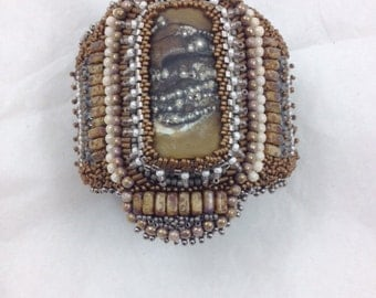 SOLD. Bead Embroidery Cuff