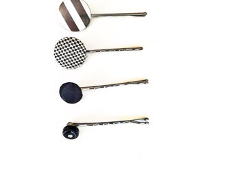 Black Button Bobby Pins-Set of 4