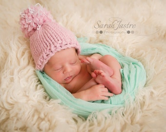 Knit Newborn Hat - Knit Baby Cap - Baby Hat - Pom Pom Baby Cap - Custom Colors