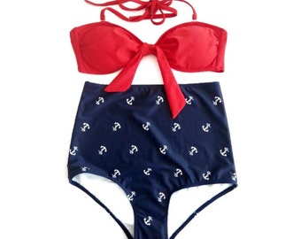 LIMITED SALE! Retro High Waisted Bikini! Red Bandeau Bow Top & Vintage Navy Anchor Print High Waist swimwear! Classic Pin-up style!