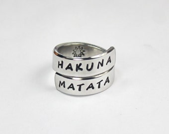 Hakuna Matata Ring, Aluminum Twist Wrap Ring, Inspired Phrase Ring, Best Gift Ring, Hand Stamped Adjustable Aluminum Ring V2 6-7-1