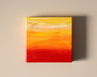 SALE Original 8X8 gallery canvas abstract art ombre wall art canvas acrylic painting red orange gold white office decor yellow kitchen decor