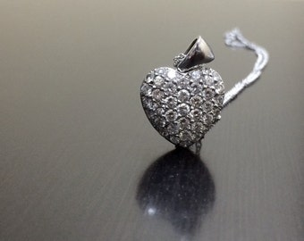18K White Gold Diamond Heart Necklace - 18K Gold Diamond Heart Pendant