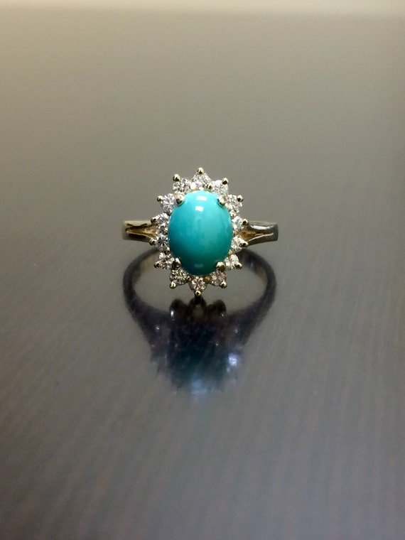 turquoise and diamond wedding ring turquoise engagement ring 14k yellow gold turquoise 8114
