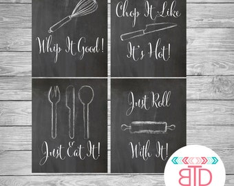 Kitchen Decor, Kitchen Utensil Art, Kitchen Wall Art, Chalkboard Signs, Whip it Good, Just Eat It, Roll With It, digital art print