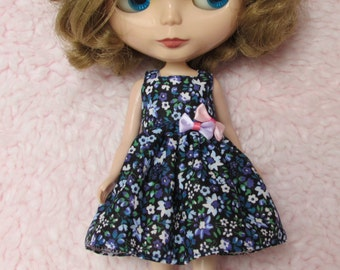 Blythe Doll Outfit Flower Print Blue Dress