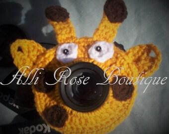 Giraffe Camera Lens Buddy - Crochet - Critter - Boy - Girl - Photography Prop - Baby - Infant - Children - Squeaker
