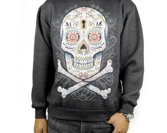 Floral Candy Skull Crewneck Charcoal Sweatshirt Day of the Dead Dia De Muertos