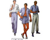 Men's Van-Martin Long or Short Sleeve Shirt, Elastic Waist Pants and Shorts Sewing Pattern Size 38 Vintage 1980s Uncut McCall's 8041