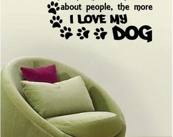 The More I Know About People, The More I Love My Dog adorable pet Wall Decal-24x11.5