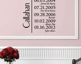 Personalized Family Name With Dates wedding/new baby/anniversary wall decal