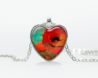 Poppies pendant Poppies Heart necklace Heart jewelry  Heart shape Christmas gift
