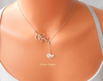 Lariat Necklace - Bird on a Branch, Dainty Necklace, Bird Necklace, Silver Necklace, Branch Necklace, Bird Lariat, Bridesmaid Gift