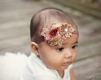 Fall Headband, Baby Headbands, First Thanksgiving,  Autumn Headband, Toddler Headband, Brown Headband, hair bows