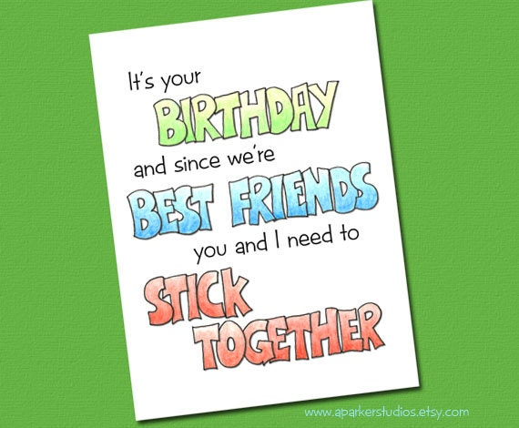 Funny Birthday Card For Best Friend Handmade By AParkerStudios