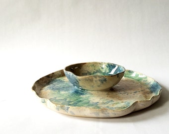 Vintage Studio Pottery Serving Dish - Chip & Dip