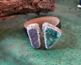 Rare! LABRADORITE /MALACHITE DRUZY Cuff,Sterling Silver/Leather cuff One Of a Kind!