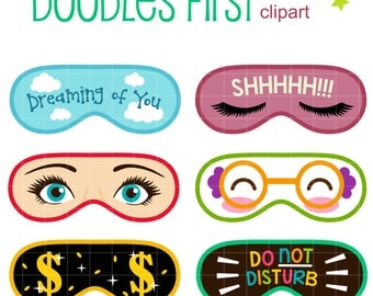 Sleeping Mask Digital Clip Art for Scrapbooking Card Making Cupcake Toppers Paper Crafts