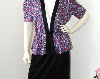 1980s Vintage Floral Peplum dress by Statements in size 14