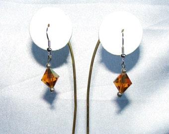 Handmade Topaz Crystal Faceted earrings