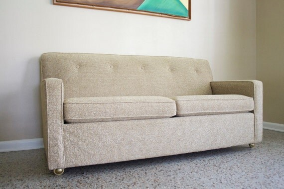 RESERVED - Mid Century Ivory Tweed Sleeper Sofa - Vintage Convertible  Loveseat - 1960s Retro Couch - RESERVED Mid Century Ivory Tweed Sleeper Sofa Vintage