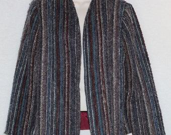 Vintage Boho Mohair Lambs Wool Size 16 Open Front Cardigan Jacket Blazer Fully Lined B40