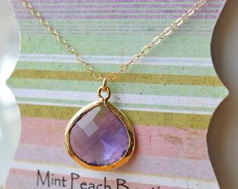 Purple Teardrop Pendant Necklace