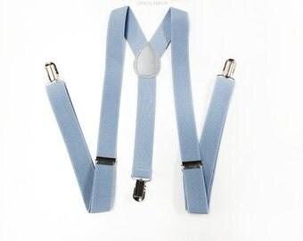 LIGHT gray suspenders, dusty blue suspenders, men's suspenders, grey suspenders, grey suspenders, mens suspenders, suspenders, suspender