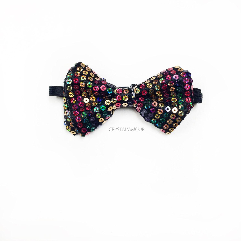Sequin Bowtie Rainbow Sequin Bow Tie Multi Color Bowtie