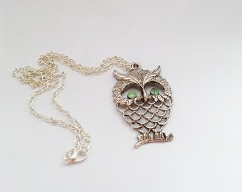 Silver long owl necklace with light green zircons gift for her necklace gift wrapping