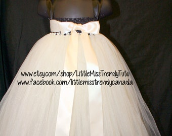 Ivory and Black Tutu Dress, Ivory Tutu Dress with Big Bow, Ivory Flower Girl Tutu Dress, Couture Ivory Tutu Dress, Ivory Tutu, Ivory Dress