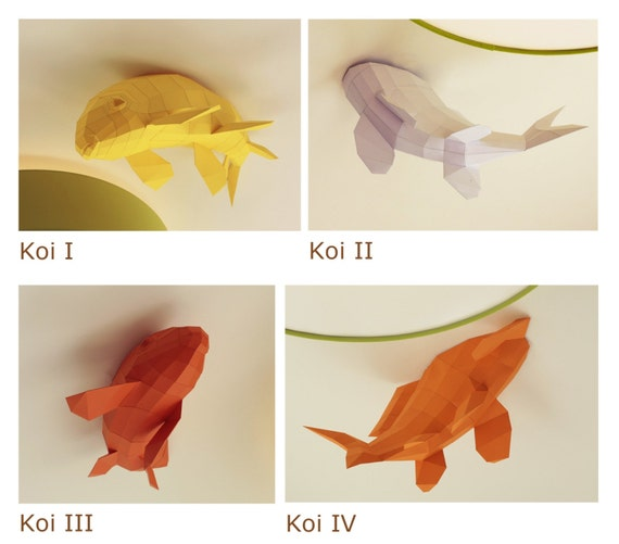 Ceiling Kois - Fish shoal, Papercraft Kit (4 Fishes)