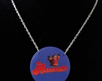 The Raccoons Style Printed Acrylic Necklace on Silver or Gold Chain, TV