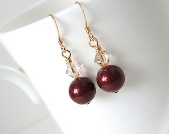 Burgundy earring Swarovski crystal earrings Swarovski pearl earring cranberry red rust red pearl topaz crystals drop dangle  gold tone