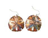 sand dollar earrings, sand dollar jewelry, sea biscuit earrings, nautical jewelry, beach jewelry, marine life, flame painted, fire torched