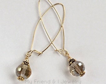 Long Kidney Wire Earrings Modern Smokey Champagne Crystal 14k Gold Filled LE342