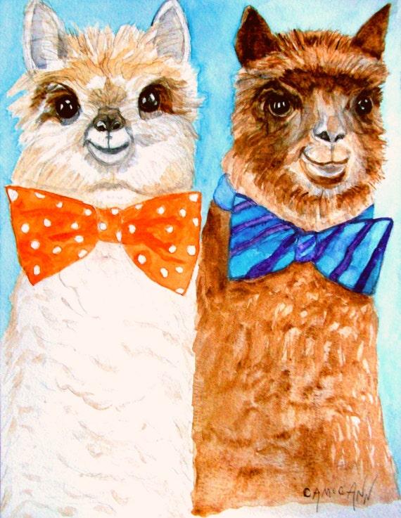 alpacas wearing bow ties aceo print or blank greeting card