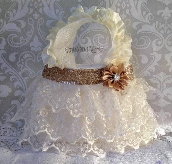Ivory Lace Flower Girl Purse, Flower Girl Gift, Birthday Gift