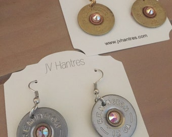 Shot Gun Shell Earrings with added Swarovski Crystal - QTY 1 pair