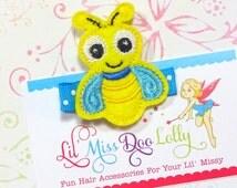 Embroidered Felt Clippie-Lightening Bug Felt Clippie- Firefly Hair Clip- Firefly Feltie Barrette (Set of 1)