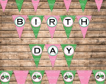 Pink and Green Tractor Themed Happy Birthday Banner Sign Pennant Bunting - Printable Party Decor - Instant Download