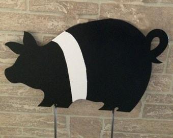 Metal Pig Garden Yard Stake - Garden Decoration - Yard Decoration - Pig Artwork