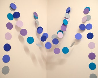 Paper Garland - The Rachel - 22' strand in Blues and Purples