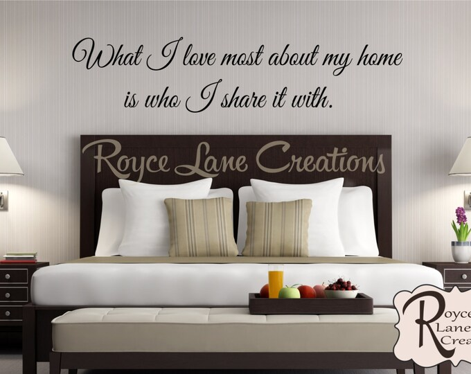 What I Love Most About My Home is Who I Share it With Guest Bedroom Wall Decal- Guest Room Decor- Guest Room Wall Decal