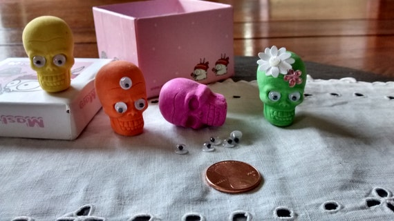 DIY 4 Pirate sugar skull wiggle eye pencil eraser toppers