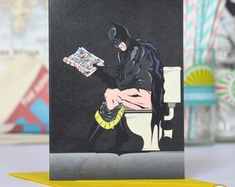 Comic book Superhero Batman on the Toilet Greetings Birthday Thanks you  Card