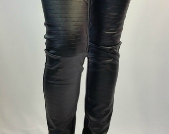 Black Long Faux Leather Leggings, Women Stretch Leggings, Skinny Leather Pants / MD 10074