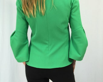 Women Elegant Blouse / Green Extravagant Top / Wide Sleeves Shirt  / MD 10301